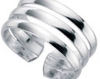 925 solid Sterling Silver Triple Band Toe Ring