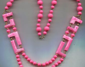 Pink Plastic Beads Abstract Design Gold Beads Necklace