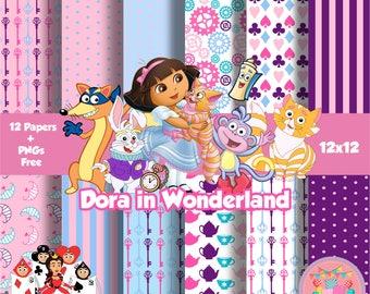 Dora in Wonderland Digital Paper Kit Digital Dora