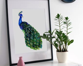 Printable Peacock Wall Decal, Watercolor Peacock Art Print, Mothers Day Gift, Gift for Mother, Instant Download, Home Decor, Peacock Print