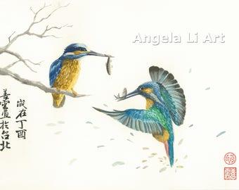 ORIGINAL Watercolour of Two Kingfishers