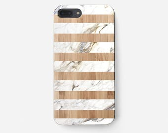 Marble Stripes iPhone 7 Plus Case, Marble iPhone 6S Case, Samsung Galaxy S7 Edge Case, iPhone 6 Cover, Cell Phone Case Wooden iPhone 5S Case