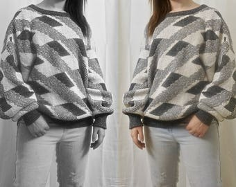 Gray and White Diagonal Patterned Cozy Oversized Sweater