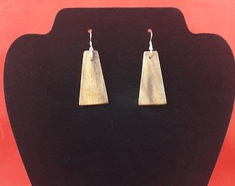 Handmade walnut wood earrings