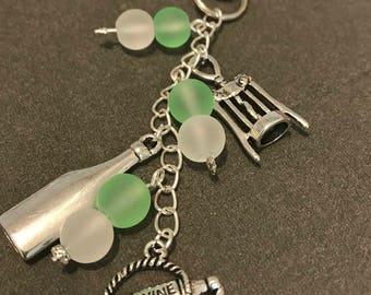 Wine charm keychain // green and white keychain // bottle opener keychain // purple wine keychain