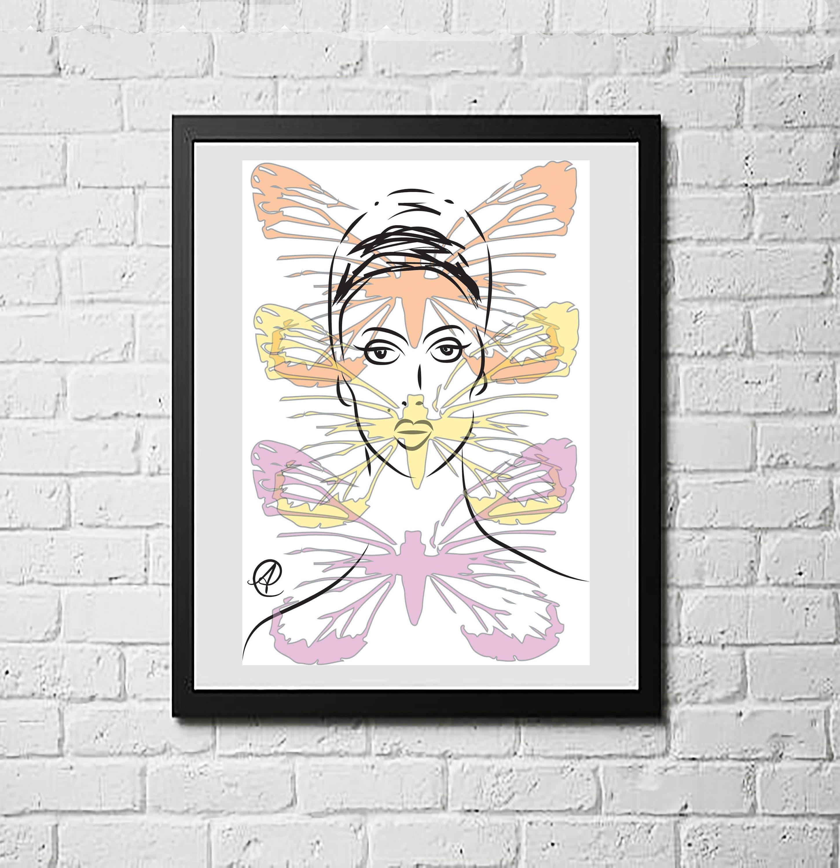 Fashion Wall Art Cool Woman And Three Butterflies Woman Art Woman Art Print Woman 2018