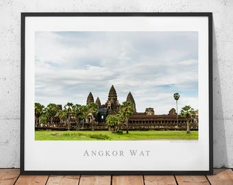 Cambodia Temple Poster, Angkor Wat Photography Print, Asia Travel Wall Decor, Buddhist Archaeology Ruins Wall Art, Siem Reap Photo, Buddhism