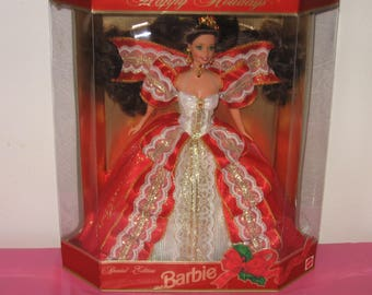 1997 Happy Holidays Barbie Doll Red Dress - 1997 Brunette Holiday Barbie