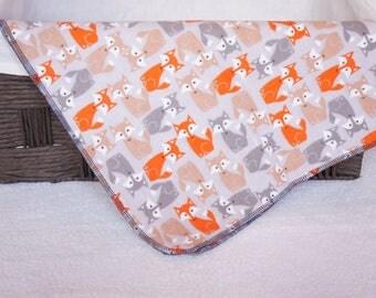 Foxes Receiving Blanket, Baby Shower Gift, Baby Blanket, Flannel Blanket, Gray Blanket, Receiving Blanket, Newborn Blanket, Nursery,