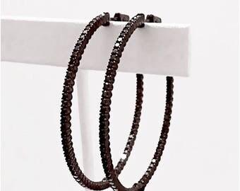 Black Hoop Earrings | Sterling Silver Black Hoop Earrings (EBH)