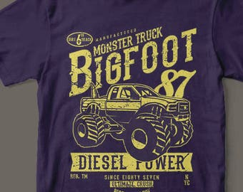 Monster Truck Diesel Power 1987 Mudders T-Shirt Custom Rare Artwork Design High Quality DTG Print *S-4XL*