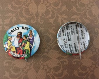 2 (TWO) 1960's Rally Day God is Love Pins
