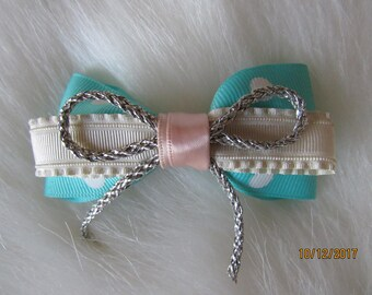 Turquoise and white girl bow