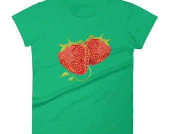 Strawberry Women's Short Sleeve T-shirt / Cotton Casual Tee