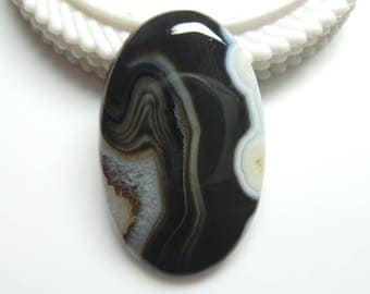 Black Botswana Agate Oval Cabochon, 1 pec,  Size- 48x30x6 MM, Natural Black Botswana Agate , AAA,  Loose Gemstone, Smooth Cabochons.