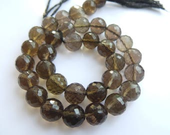 Smoky Faceted,  Bolls, Beads, Size- 8x8 MM, Natural Smoky  Bolls,  Beads, AAA Quality, Faceted,Bead, Natural Gemstone, 10 INCH