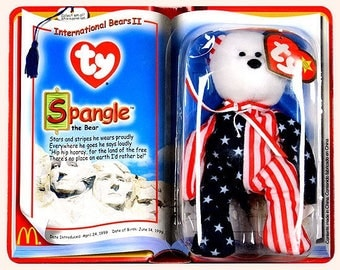 TY McDonald's Beanie Babies SPANGLE the Bear 1999 *New in package*