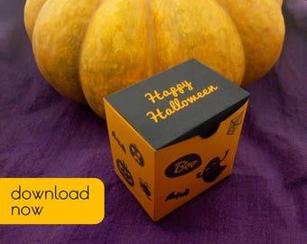 PDF Halloween gift box, Printable template, Favor box, orange, pumpkin, bat, ghost, boo, halloween pattern, Happy Halloween, square box, DIY