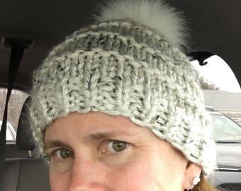 Chunky Knit Hat- Soft Aspen Tweed with White Faux Fur Pom Pom