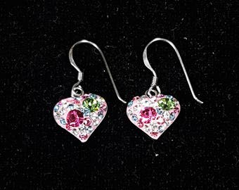 Silver and Crystal Rainbow Heart Beads Dangle-Drop Earrings, Silver 925 Earrings, Charm Earrings, Cute Earrings, ER-001