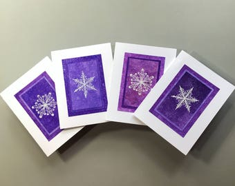 Snowflake blank cards (set of 4), embossed on hand-painted paper, individually handmade: A2, fine cards, notecards,, SKU BLA21052