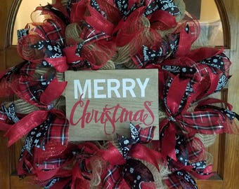 Merry Christmas black and red burlap deco mesh wreath