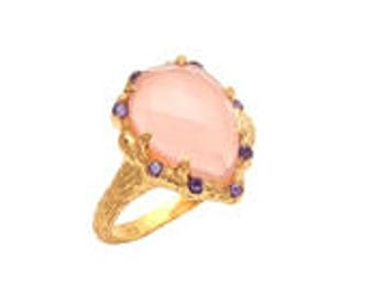 Pink Chalcedony Texture Ring