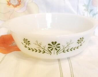 Vintage Glasbake green daisy casserole dish. Vintage 1950s milk glass with green flowers.