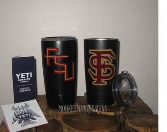 "YETI RAMBLER custom made with ""FSU"" logo,20oz Yeti tumbler cup powder coated black,red, Florida State Seminoles"