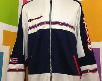 Vintage 90s Champion Sweater Blue Colour Zipper Jacket Big Logo Spell Out Embroidered Rare Design