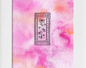 Tracey Pinnington, original art, water colour, ink, drawing, floral, floral art, home decor, wall art, original, painting, flower art