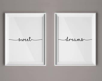 Sweet Dreams Print, Set of 2 Prints, Nursery Sweet Dreams, Minimalist Prints, Digital Nursery Art, Nursery Decor Art, Modern Art, #HQSET02