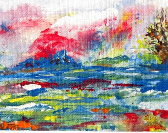 ACEO  Surreal Seascape Abstract  Art  Painting 2 1/2 x 3 1/2 Inches