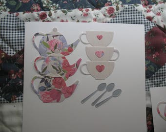 Teapot, cups and spoons die cuts