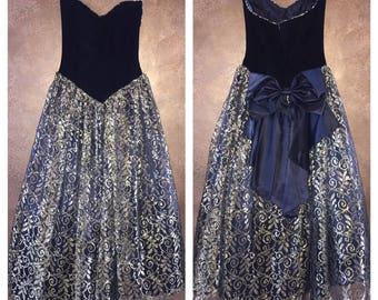 Vintage Scott McClintock Ugly Prom Dress sz 4 Velvet Black Gold