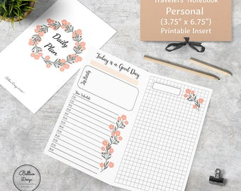 2 Pages Daily Planner, Undated TN Insert, Planner Personal Inserts, Personal Size Insert, Printable Personal Inserts, Foxy Fox No.4 Inserts