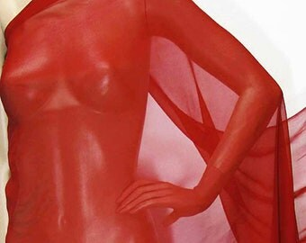 114cm /45 inches wide Simply red Silk Georgette Chiffon Fabric 8mm dressmaking material sheer CN-113 by the yards or by the meters
