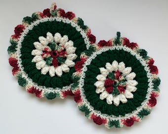 Green and Off-White Floral Hot Pad Set