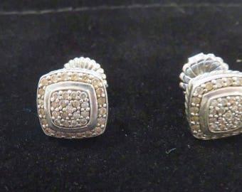 Albion Silver Diamond Earrings
