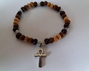 Wooden Beaded Bracelet with Ankh Egyptian Cross