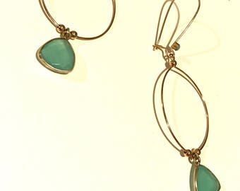 "Earrings ""Leonie"" gilded with gold thin and soft green amazonite stones"