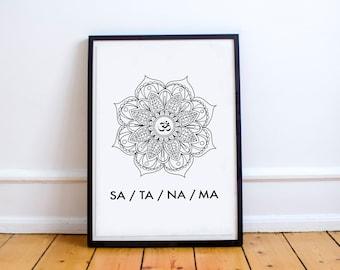Printable Wall Art, Printable Art, Printable Quote, Yoga Print, Kundalini Print, Sa Ta Na Ma, Spiritual, Modern Art, Divine