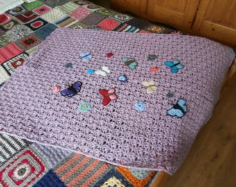 Baby blanket with butterflies - crocheted