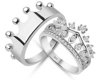 crown ringsilver crown ringqueen ringking ringcrown ring set - Crown Wedding Rings