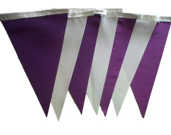 Purple and Ivory Taffeta Single Sided Bunting Available in Various Lengths