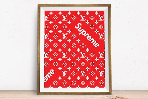 Louis Vuitton Supreme, Wall Art, Louis Vuitton Art, Supreme Art, Supreme,  Down, Printable Art, House Decor