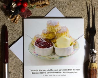 Afternoon tea  funny card - food photography card - birthday card for food lover - literary quotation card