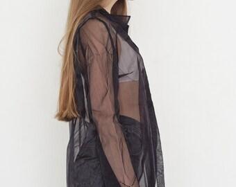 VINTAGE Black See Through Long Sleeve Retro Shirt