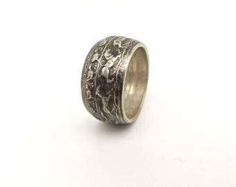 Ceylon 1957 2500 years of Buddhism coin silver coin ring. Men can be sized