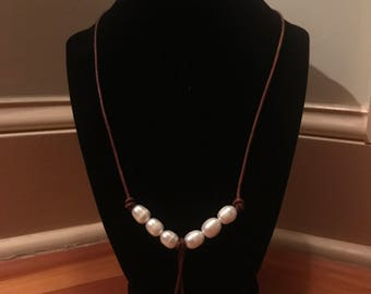 Pearls and African Sea Glass Necklace